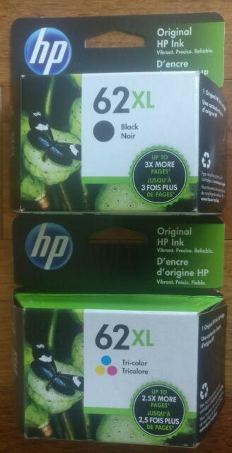 Genuine HP 62 XL Black XL Color Inkjet Cartridges Combo Brand New Seal Free Ship