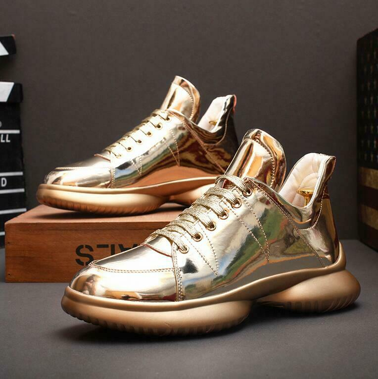 Fashion Men High Top Leather Shiny shoes Glossy Hip Hop Boys Creeper shoes hkm15