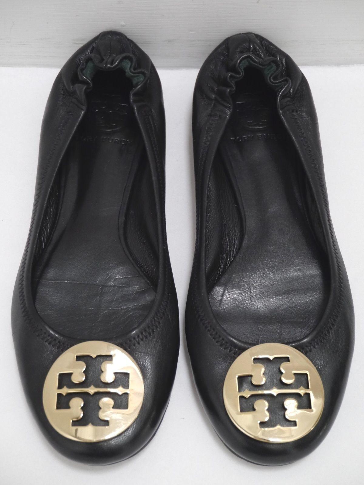 TORY BURCH Reva black leather gold logo detail ballet flats shoes size 7.5