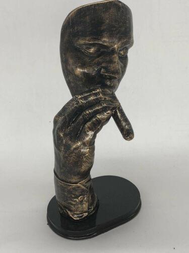 Man Smoking Cigar Bronzed Sculpture on Plastic Base Figurine Home Decor Sale