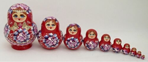 Matryoshka #3608 RED 10 pcs Russian Nesting Doll