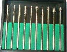 Diamond Burr Rotary Drill Bit 10pc Mini Router Fits Dremmel Engraver Set Hb264