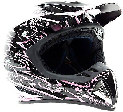 Adult Motocross Helmet Birt Bike MX Off Road ATV Black Pink