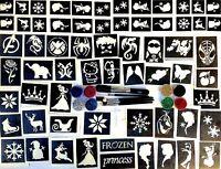 GLITTER TATTOO KIT boys and girls VALUE 76 stencils 12 glitters 1 glue 3 brushes