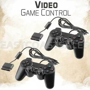 2x-Black-Twin-Shock-Video-Game-Controller-Joypad-Pad-for-Sony-PS2-Playstation-2