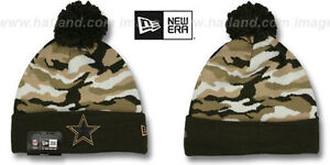 dea3c8fbac9 Image is loading Cowboys-039-CAMO-CAPTIVATE-039-Brown-Knit-Beanie-