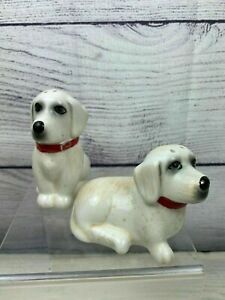 Vintage Estate: White Dogs Red Collars Ceramic Salt and Pepper Shakers EUC
