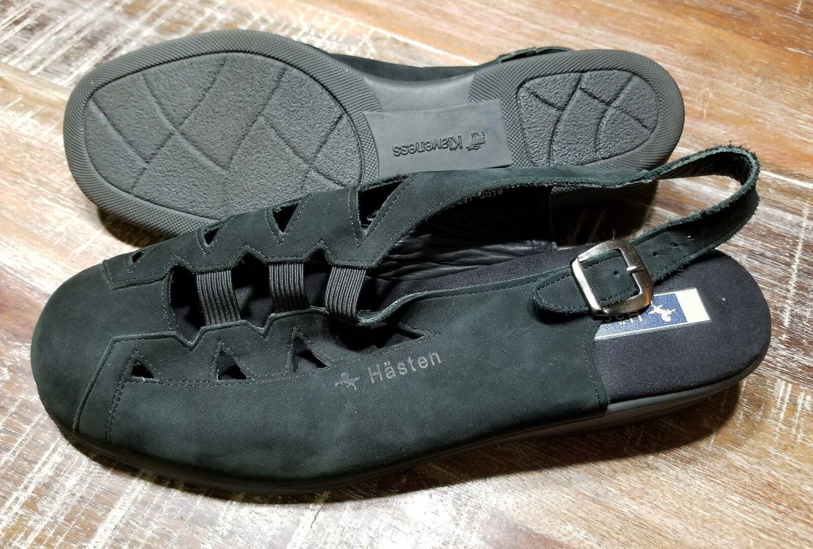 KLAVENESS Hasten Black Leather Slingback shoes Women's EU 42 US 10.5