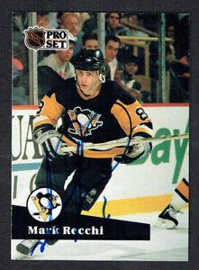 Mark Recchi #184 signed autograph auto 1991-92 Pro Set Hockey Trading Card