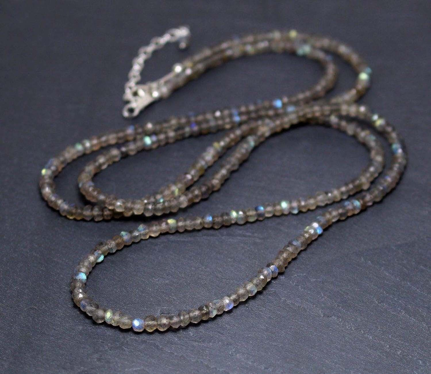 """NEW 5x8 mm faceted black gray Labradorite gemstone abacus necklace 18 /"""""""