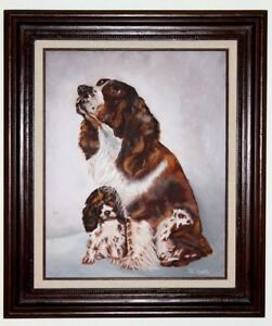Original-Oil-on-Canvas-Artwork-Painting-Mother-amp-Puppy-Framed-Signed-D-C-Smith