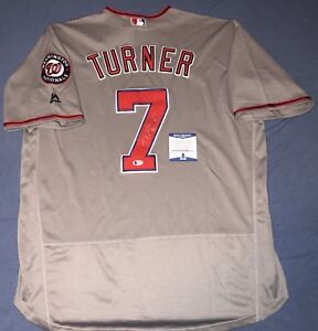 new product b040b a19c4 Details about TREA TURNER SIGNED WASHINGTON NATIONALS JERSEY AUTO+BECKETT  BAS COA!