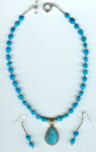 Turquoise-Pendant-and-Sleeping-Beauty-Nuggets-Necklace-and-Earring-Jewelry-Set-2