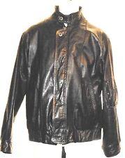 Vintage London Fog Men's Black Leather Zip Front Motorcycle Jacket Size  M Korea