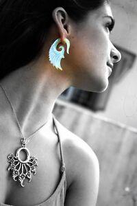 Fake-Shell-Gauge-Carved-Handmade-Split-Hook-Exotic-Earring-Piercing-Silver-Bar
