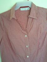 Womens St. John's Bay Red Striped Front Button Down Shirt Top M