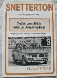 SNETTERTON 29 Jun 1975 Southern Organs British Saloon Car Official Programme