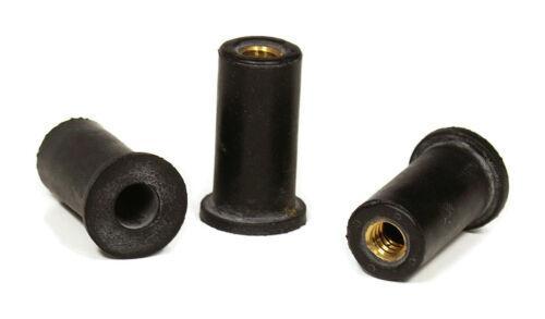 Rubber Well Nuts EPDM Brass Insert Windscreen Fairing Nut Metric Sizes QTY 10