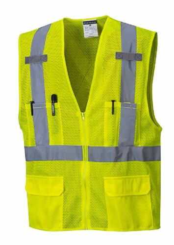 5 PACK PORTWEST 2 REFLECTIVE TAPE HI-VIS SAFETY VEST SIZES M-5XL US370 CLASS 2