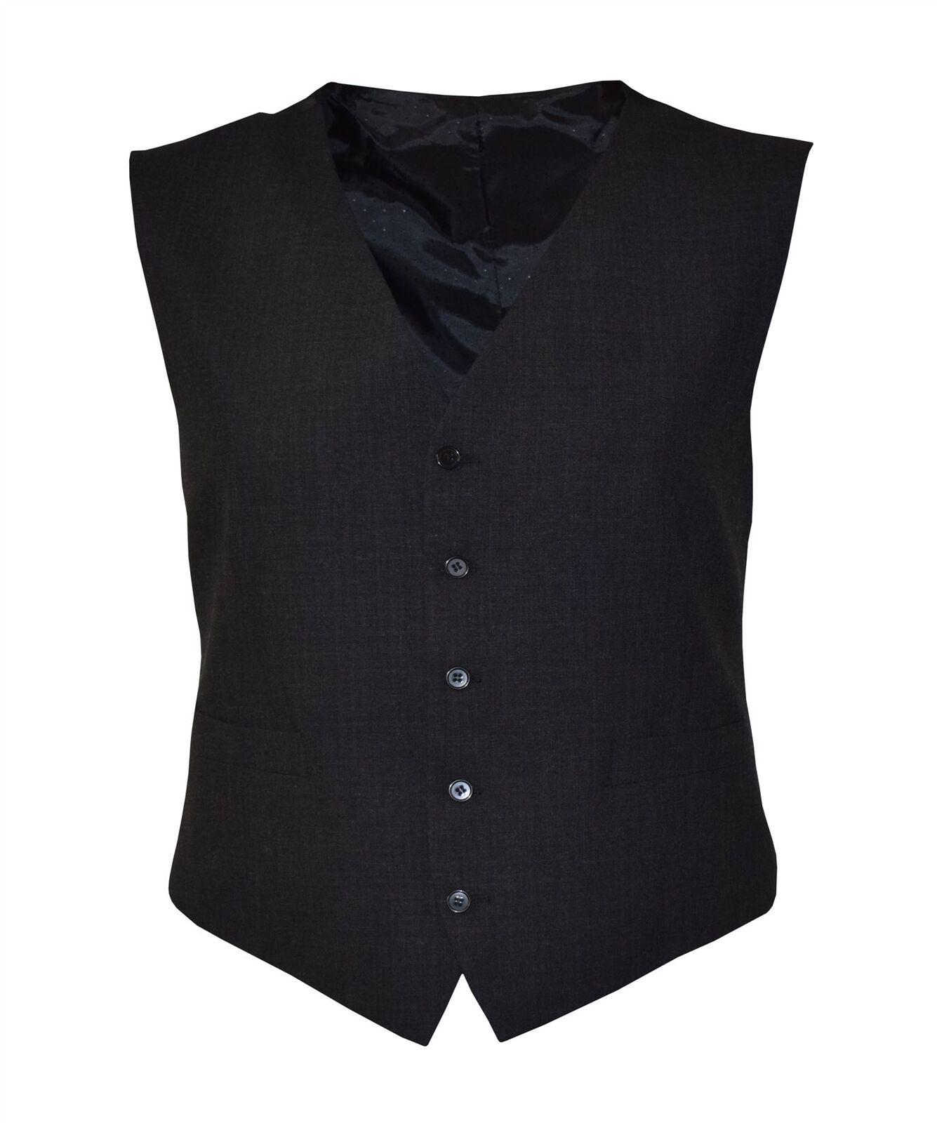 SCOTT  Herren Plain Charcoal Waistcoats