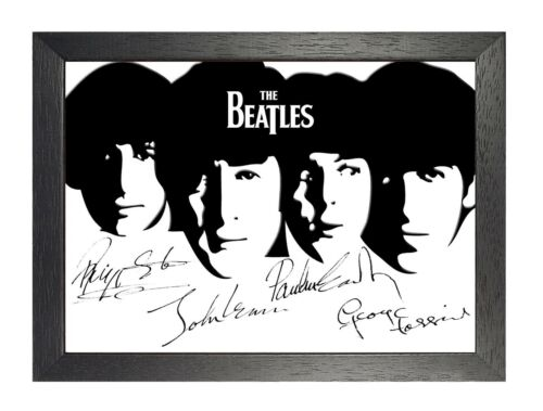 The Beatles 11 Signed Black And White Poster English Rock Music Band Star Photo