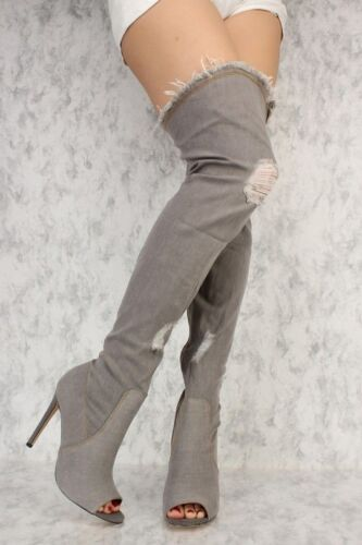 New Distressed Ripped Denim Over The Knee Thigh High Boot Peep Toe Stiletto Heel