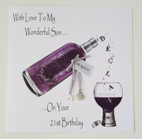 Personalised 21st Birthday Card Violet Gin Wonderful Son Brother Father