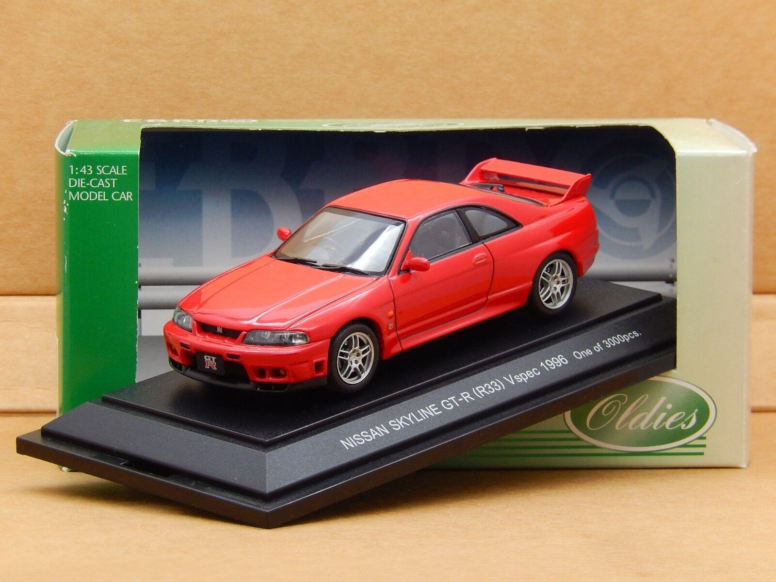 1 43 Nissan Skyline GT-R V-Spec R33 1996 Red Ebbro MMP Diecast Model 585 Rare
