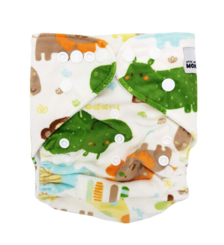 Modern Cloth Reusable Washable Baby Nappy /& Insert Minky Jungle Animals