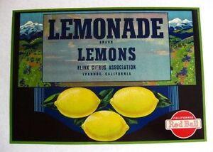 LEMONADE Lemon Crate Label Ivanhoe Tulare County California ORIGINAL RED BALL