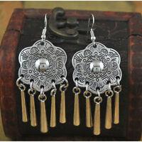 New Vintage Bohemian Boho Style Bronze Drop Flower Rhinestone Dangle Earrings