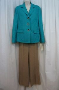 """Evan Picone Pant Suit Sz 14 Turquoise Sand """"Classic Time"""" Career Business Suit"""