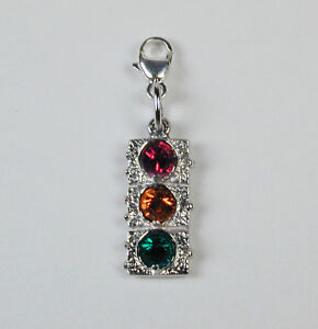 Sterling-Silver-Traffic-Light-Charm-w-Colored-Stones-amp-Clasp-Free-U-S-Shipping