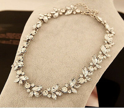 Hot Fashion Retro Silver Metal Luxury Clear Crystal Flower Choker Bib Necklace