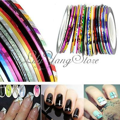 12 Mixed Colors Rolls Striping Sticker Tape Line Design Nail Art Tips Decoration