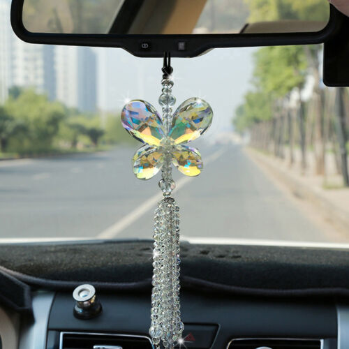 Brilliant Car Pendant Crystal Butterfly Hanging Ornament Car Interior Decoration