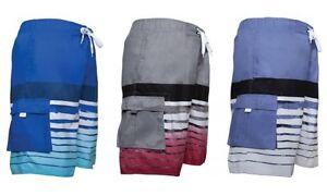 Mens-Long-Baggy-Board-Swim-Shorts-Striped-Stripes-Aqua-Red-Blue-S-M-L-XL-XXL-NEW