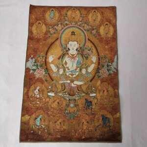 36-034-Tibet-Tibetan-Cloth-Silk-4-Arm-Guanyin-Kwan-yin-Tangka-Thangka-Mural-11
