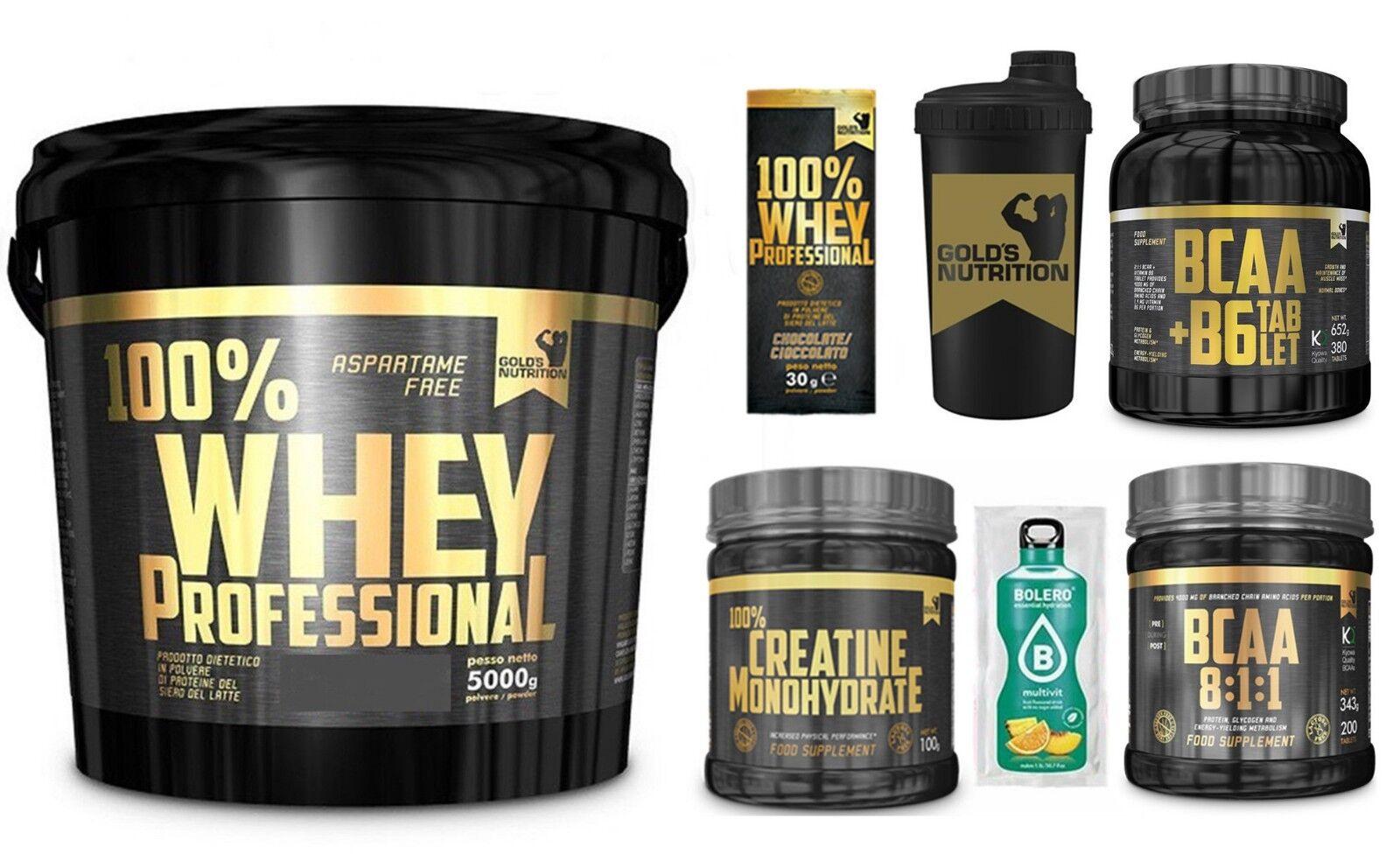 Gold's Nutrition 100% whey protein 5kg proteine siero latte+ bcaa 8:1:1 creatina