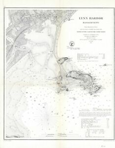 "1859 US Coast Survey ""Lynn Harbor, Massachusetts""- Original electrotype"