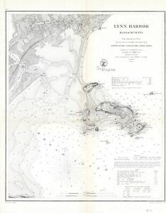 "1859 US Coast Survey ""Lynn Harbor, Massachusetts""- Original electrotype"