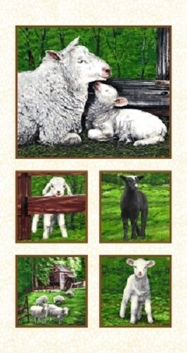 IN THE MEADOW LAMBS SHEEP COUNTRY SCENIC FABRIC PANEL