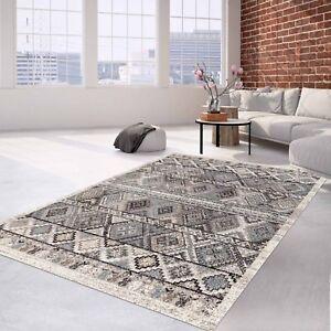 Teppich Klassisch Flachflor Orientalisches Muster Creme Grau