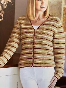 Ladies-Striped-Cardigan-Crochet-Pattern-Chest-32-38-034-BR519