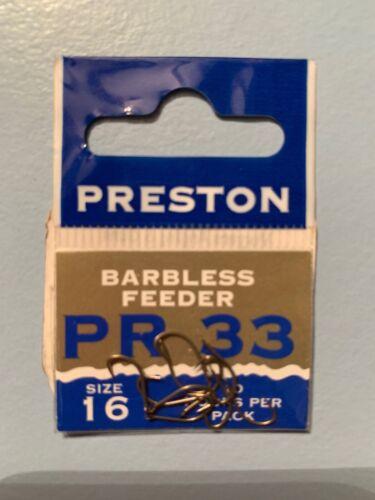 Preston PR33 Hooks Barbless Feeder Size 16 10 Hooks Per Pack