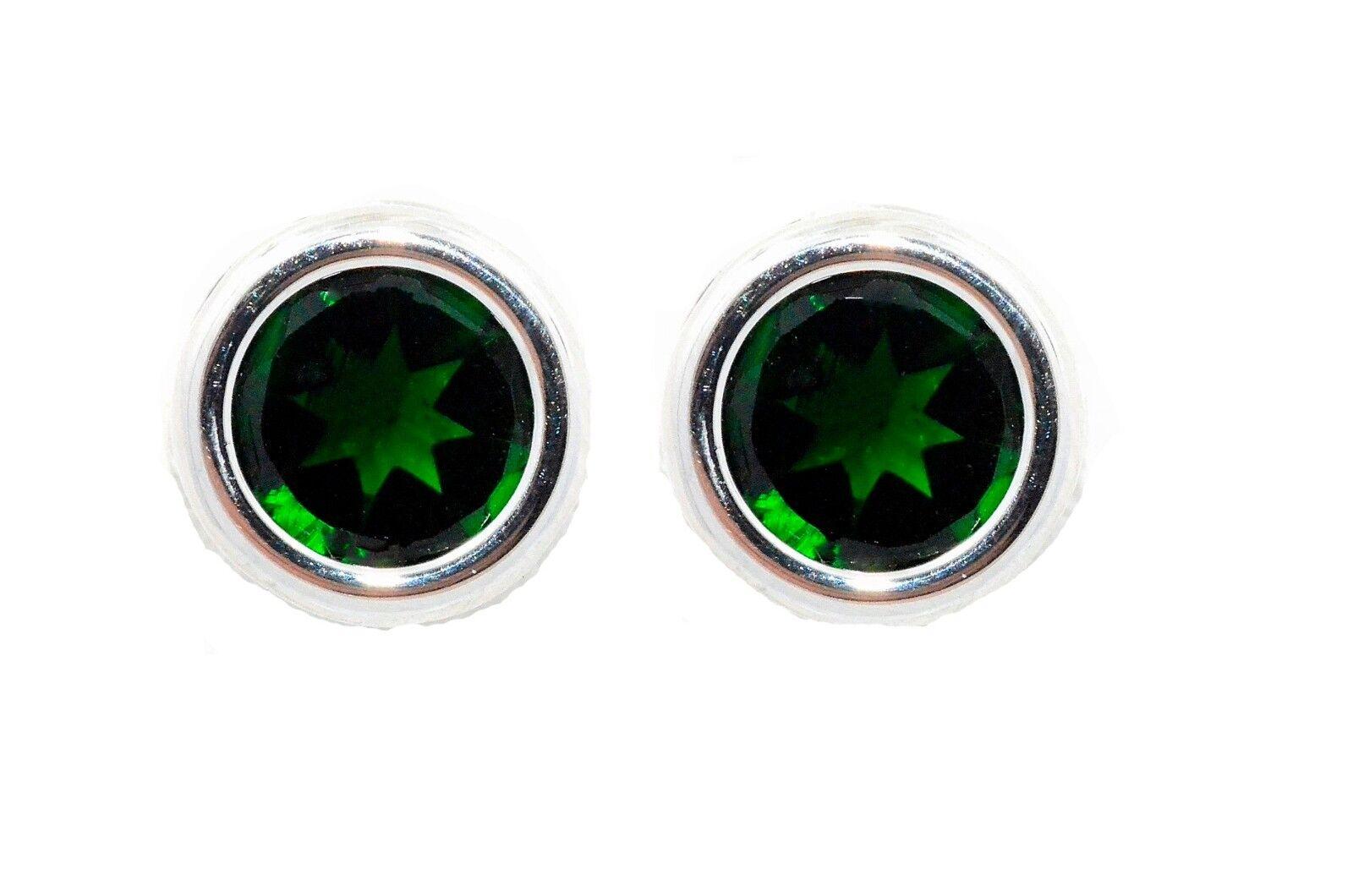 14Kt White gold 2 Ct Emerald 6mm Bezel Round Stud Earrings