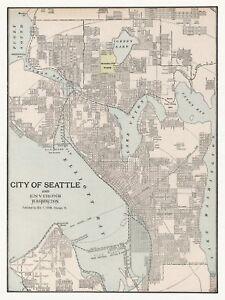 Old Vintage Decorative Map of Seattle Cram ca. 1901