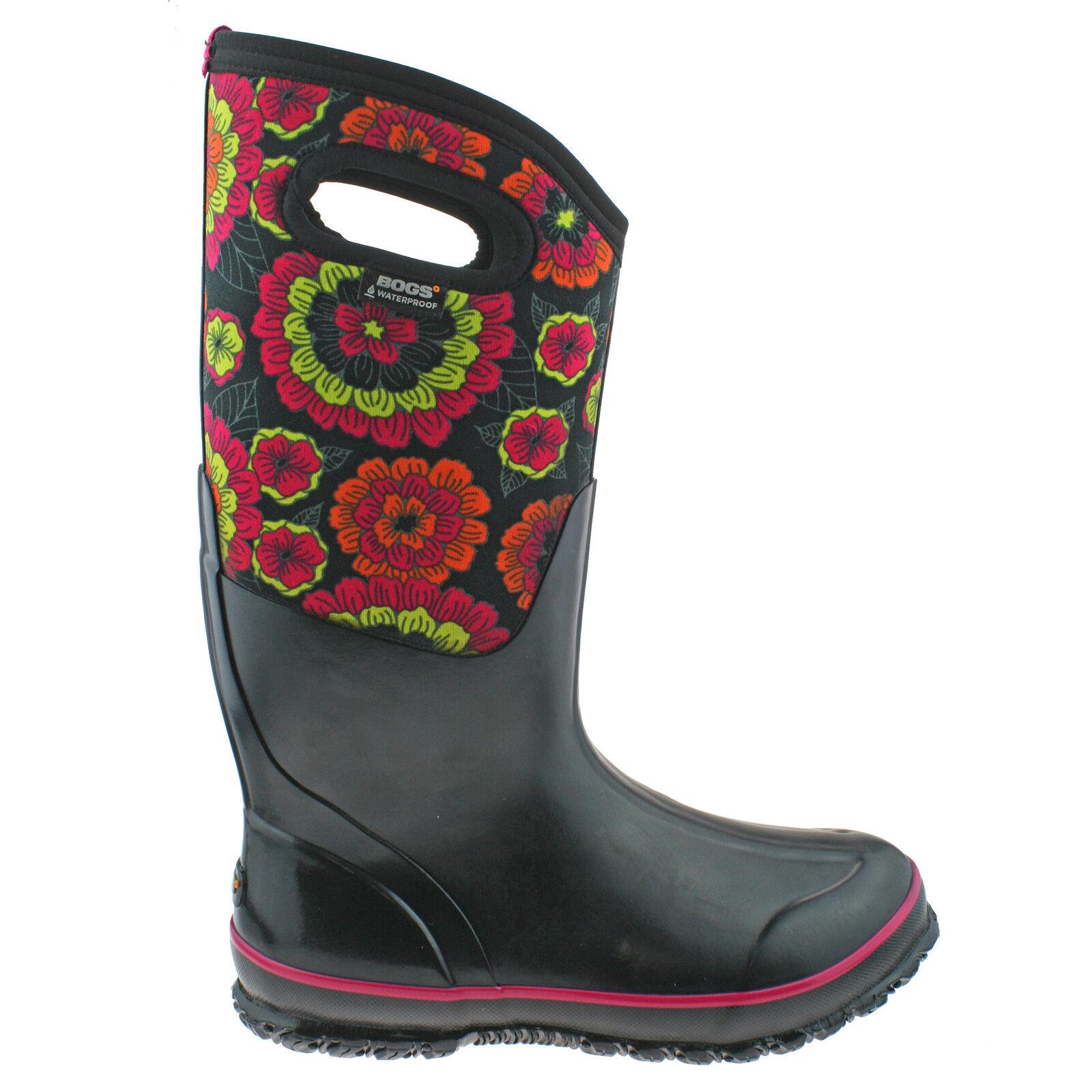 LADIES BOGS CLASSIC PANSIES schwarz INSULATED WARM WATERPROOF WELLIES Stiefel 72117