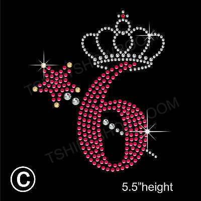 Birthday Princess Crown//Tiara Rhinestone Hotfix Iron on Transfer Motif+Free Gift