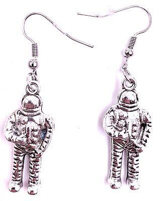 KITSCHY ROCKET SHIP EARRINGS silver post stud space astronaut sci-fi nasa UFO T3